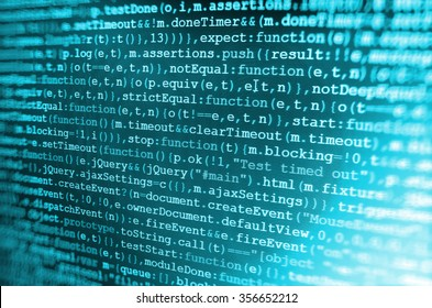 Software developer programming code on computer. Abstract computer script source code. Shallow depth of field, selective focus effect. All code and text written and created entirely by myself.