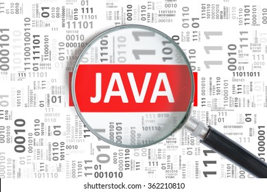 Software development concept. Java programming language inside magnifying glass in binary code.