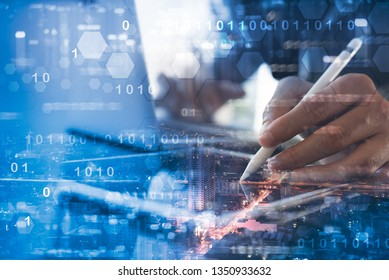 Software development, Internet technology, IoT concept. Coding software developer working on digital tablet, laptop computer and city with binary, technology element, big data on virtual screen