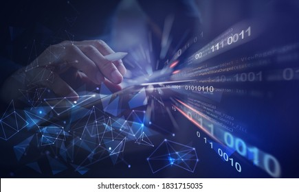 Software development, IoT internet of Things, Internet network technology concept. Man coding programmer, software developer working on digital tablet with binary, html computer code on virtual screen