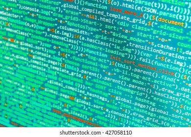 Software development. Writing program code on computer. Software background. Programming code abstract screen of software developer. Writing programming code on laptop. Programmer occupation.