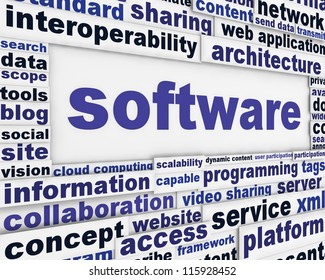 Software message background. Computer program poster design