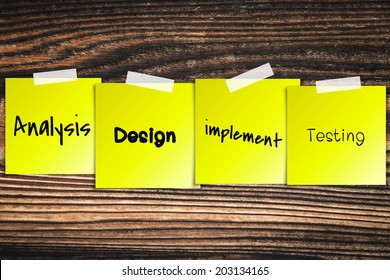 Software process sticky paper Old vintage wood background texture
