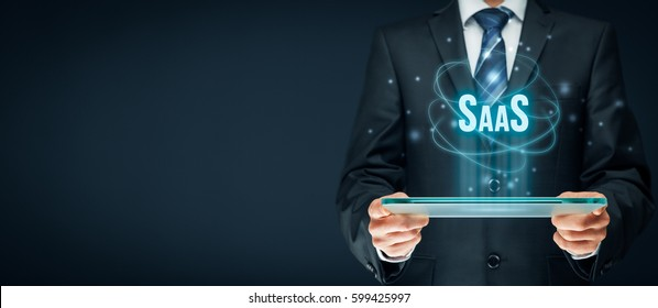 Software as a Service (SaaS, on-demand software) concept. Modern information technology business model where software is licensed on a subscription basis.