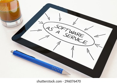Software as a Service - text concept on a mobile tablet computer on a desk - 3d render illustration.