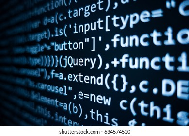 Software source code. Programming code. Programming code on computer screen. Developer working on program codes in office. Source code photo. Technology background.
