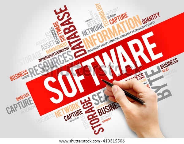 Software Word Cloud Business Concept Stock Photo Edit Now 410315506