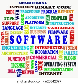 The SOFTWARE word cloud,business and internet concept as background