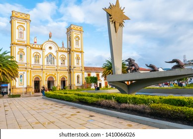 Sogamoso, Colombia  May 23 Saint Martin Church and Sun monument located in Sogamoso village remind the peaceful coexistence of these religious beliefs. Shoot on May 23, 2019