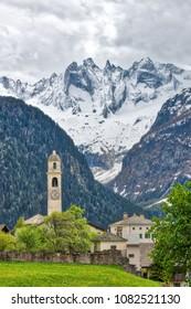 Soglio. Village of the Swiss Alps. In the Bregaglia valley, canton of the Grisons.