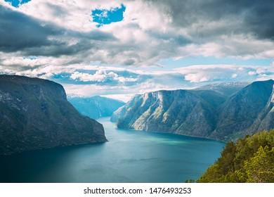 Sogn And Fjordane Fjord, Norway. Amazing Summer Scenic View Of Sogn Og Fjordane. Famous Norwegian Landmark And Popular Destination In Summer Day.