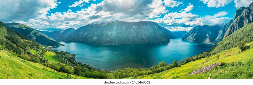 Sogn And Fjordane Fjord, Norway. Panorama Panoramic View Of Amazing Fjord Sogn Og Fjordane. Summer Scenic View Of Famous Natural Attraction Landmark And Popular Destination In Summer.