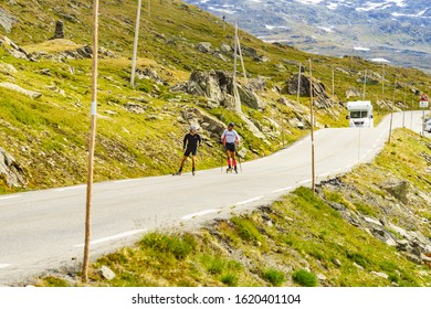 SOGNEFJELLET, NORWAY - JULY 7, 2018: People riding on roller skis in mountains on National Tourist Route Sognefjellet. Summer training exercise on rollerskis.