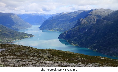 sognefjord in norway from molden mountain