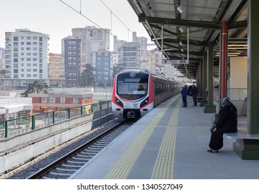 Sogutlucesme, Istanbul - March 16, 2019 : Connecting Istanbul Anatolian side and European side (Between Gebze- Halkali), Marmaray suburban rail officially opened. TURKEY