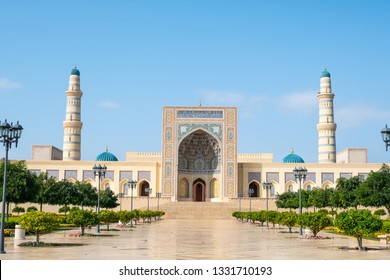 Sohar, Al Batinah / Sultanate of Oman – February 13 2019 : Sultan Qaboos Grand Mosque in Sohar. This mosque is a brand new grand royal mosque in Sohar, inaugurated in October 2016.