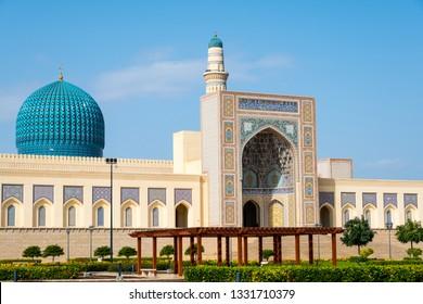 Sohar, Al Batinah / Sultanate of Oman – February 13 2019 : Sultan Qaboos Grand Mosque in Sohar. This mosque is a brand new grand royal mosque in Sohar, inaugurated in October 2016.
