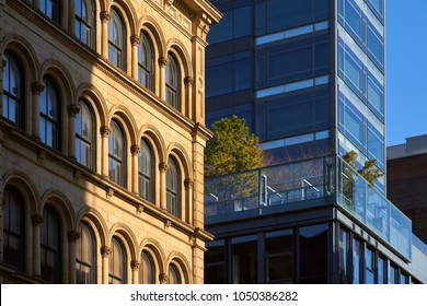 Soho building facades with contrasting architectural styles. New York City, Manhattan, Soho