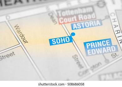 Soho Cinema. London, UK map.