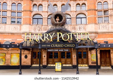 Soho, London, UK - June 2018: London, Palace Theatre decorated for the current show Harry Potter And The Cursed Child. London, UK
