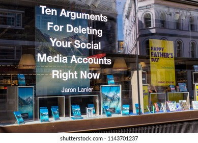 Soho, London, UK - June 2018: Promotional campaign of the latest Jaron Lanier book Ten Arguments for Deleting Your Social Media Accounts Right Now. Foyles bookshop, London, UK