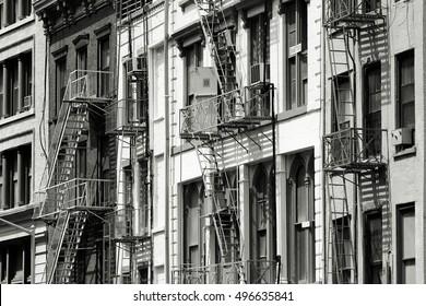 Soho, New York. Black and white style.