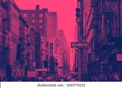 SoHo New York City in Pink and Blue