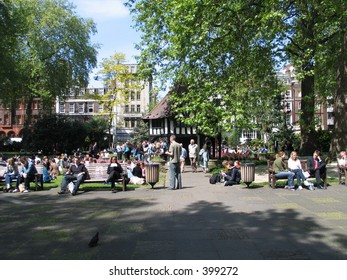 Soho square, london lunchtime workers