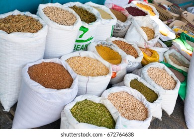 Soia Beans, Beans, Legumes, Spices in Whit Bags in Arabic Market