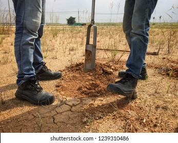Soil boring and soil sampling by Soil drill. The concept of soil quality and environmental research