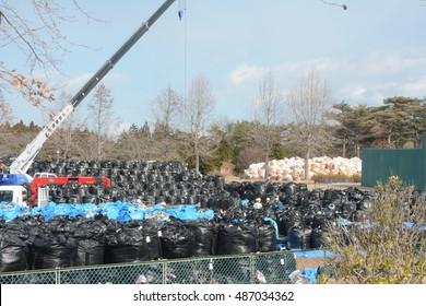 Soil contamination collected from contaminated areas in Tomioka, Fukushima on 11th March 2014 / Soil contamination in Fukushima