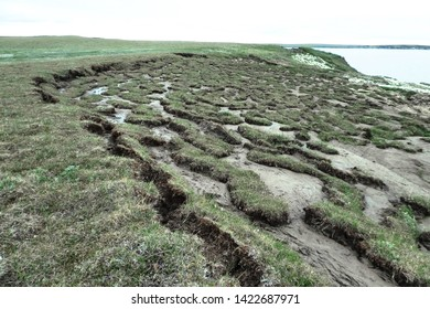 the soil degradation due to the melting of the permafrost