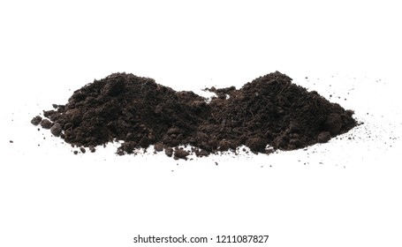 Soil, dirt pile isolated on white background