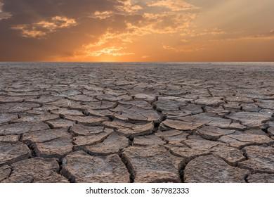 Soil drought cracked landscape sunset