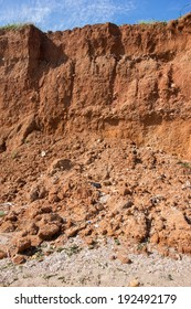 Soil erosion due to water from rains.
