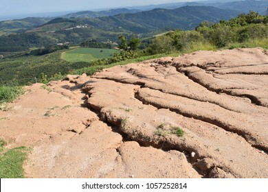 Soil erosion in the highlands.  Landscape mountain with soil cracked.