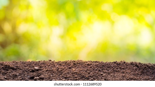 Soil with green background