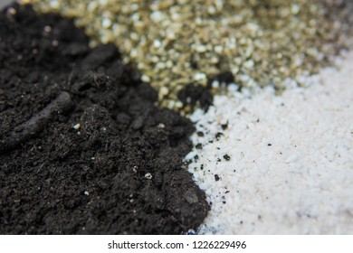 Soil for growing cannabis. Close up . Substrate for marijuana. A mixture of earth, perlite and vermiculite. The concept of growing medical cannabis in the doore indoor.
