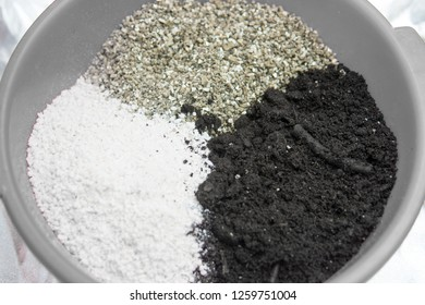 Soil for growing cannabis. Substrate for marijuana. A mixture of earth, perlite and vermiculite. The concept of growing medical cannabis in the doore indoor.