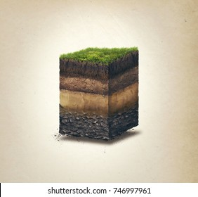 Soil layers. Cross section soil layers. 3D illustration isolated on light background