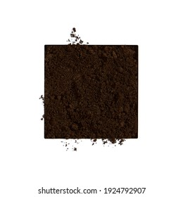 Soil on white background. Ground minimal flat lay. Agriculture, organic, garden concept.