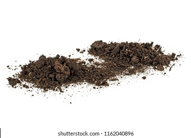 Soil pile isolated on white background. Dirt.