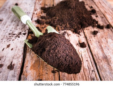 Soil for planting on wood background