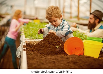 soil preparing. small boy preparing soil for planting. soil preparing concept. soil preparing of young gardener family. gardener