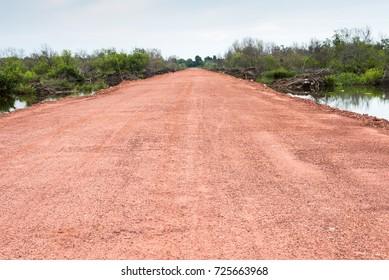 Soil road prepare to make a new road to conutryside, lateritic soil road, non asphalt