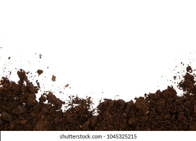 Soil texture isolated on white background seen from above, top view