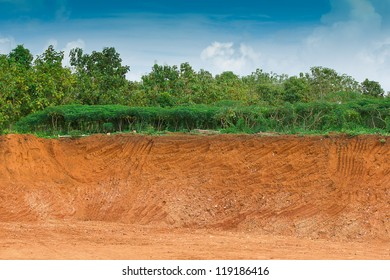 Soil under in cassava farm. Condition of the erosion as the cliff by human