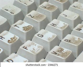 Soiled computer keyboard