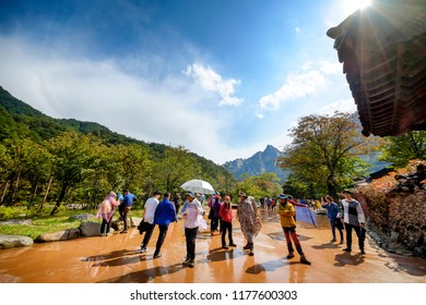 SOKCHO, KOREA - OCTOBER 10, 2015 : Seoraksan National park, holiday people Korean popular walking for health. place of natural beauty and always travel as a family.