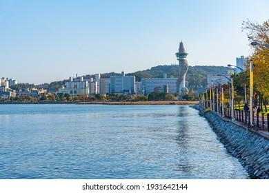 SOKCHO, KOREA, OCTOBER 27, 2019: Landscape of Sokcho with Expo Tower, Republic of Korea